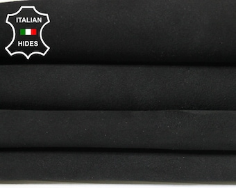BLACK SUEDE Italian Goatskin Goat leather 6 skins hides total 18sqf 1.2mm #A4977