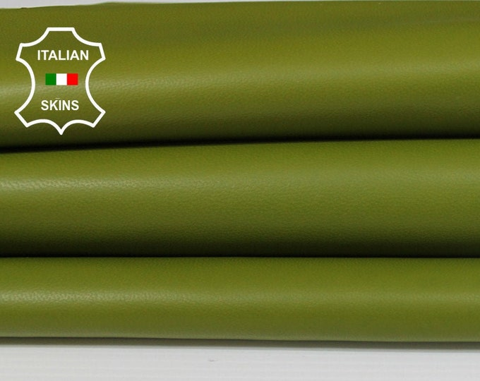 AVOCADO GREEN pistachio Italian Lambskin Lamb sheep leather material for sewing crafts skins hides 6+sqf 0.8mm #A6163