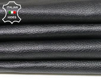 JET BLACK PEBBLE Grainy grain textured Italian genuine Lambskin Lamb Sheep Leather skins hides 0.5mm to 1.2mm