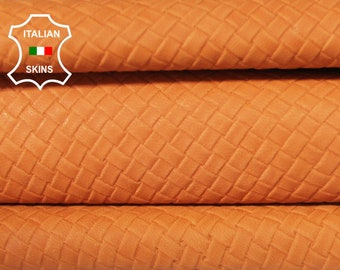 WOVEN NATURAL ORANGE textured Italian Goatskin Goat Leather material for sewing crafts skin skins hides 6sqf 0.7mm #A6425