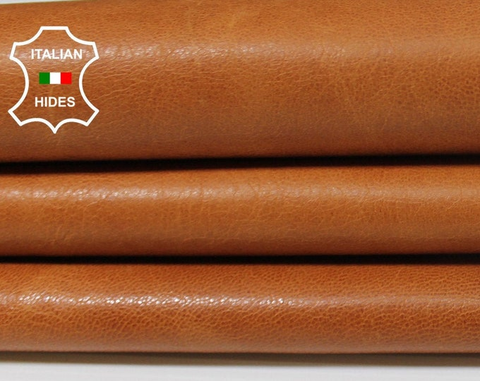 NATURAL COGNAC BROWN brandy aniline vegetable tan tanned Goatskin Goat leather skin skins hides 5sqf 0.7mm #A5342
