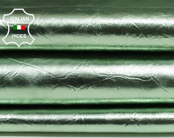 METALLIC MINT GREEN crinkled Italian Calfskin Calf Cow genuine leather skins hides skin hide 5-9sqf 0.5mm