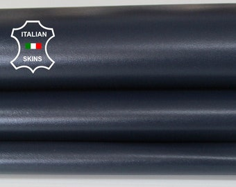 MIDNIGHT BLUE dark blue smooth Italian genuine Lambskin Lamb Sheep leather skins hides 0.5mm to 1.2mm