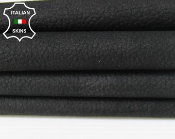 NABUCK BLACK Pebble grain grainy soft Italian Calfskin Calf leather skin skins hide hides 4-8sqf 0.6mm #A6283