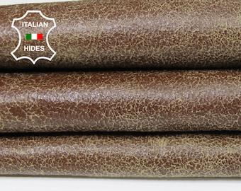 BROWN cracked crackle crackled vintage Italian Lambskin Lamb Sheep leather skin hide skins hides 6sqf 0.5mm #A5432