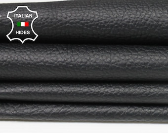 BLACK PEBBLE GRAINY grain textured Italian genuine Lambskin Lamb Sheep Leather skins hides 0.5mm to 1.2mm