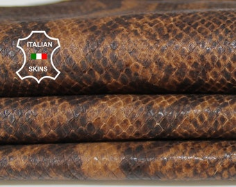 BROWN PYTHON SNAKE reptile print textured Lambskin Lamb Sheep leather material for crafts skins hides 5sqf 0.6mm #A6318