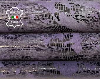 EGGPLANT PURPLE TEJUS Reptile print distressed antiqued shiny soft Italian Lambskin Lamb Sheep leather skin skins hide 6sqf 1.0mm #A8514
