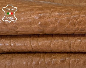 CAMEL BROWN BUBBLY grainy vegetable tan thick Italian lambskin lamb sheep leather skin skins hide hides 6sqf 1.8mm #A8154