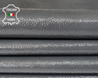 GREY CRINKLE PATENT shiny wet look Italian calfskin calf cow leather hide hides skin pack 2 skins total 8sqf 1.1mm #A8219