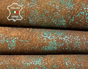 METALLIC EMERALD GREEN stonewash crackle distressed vintage look vegetable tan soft Italian lambskin lamb sheep leather 7+sqf 0.8mm #A8382
