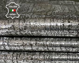 METALLIC SILVER ANTIQUED vintage look thin soft Italian lambskin sheep leather skin skins hide hides 3+sqf 0.5mm #A8085