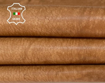 SAND CAMEL BROWN rough vintage look vegetable tan thick Italian goatskin goat leather skin skins hide hides 8+sqf 1.2mm #A8471