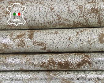 METALLIC SILVER DISTRESSED antiqued White & Camel vintage look Italian Pigskin leather 2 skins hides total 10sqf 0.6mm #A6544