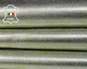 METALLIC SILVER LIME green distressed rough grainy vintage look Italian Goatskin Goat Leather 3 skins hides total 20sqf 1.1mm #A6824