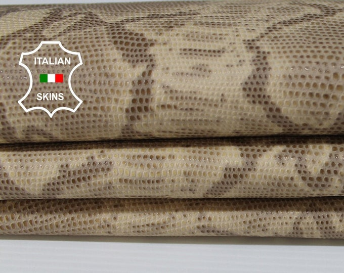 BEIGE PYTHON SNAKE reptile print textured Lambskin Lamb Sheep leather material for crafts skins hides 5sqf 0.8mm #A6316