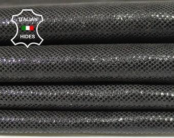 DARK TAUPE GREY Lamé shiny antiqued soft Italian Lambskin Lamb Sheep Leather skin hide skins hides 7sqf 0.5mm #A4972