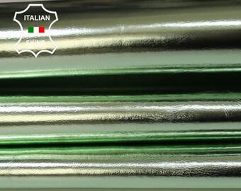 METALLIC LIGHT LIME Green Italian Goatskin Goat leather skin hide skins hides 7sqf 0.8mm #A5960