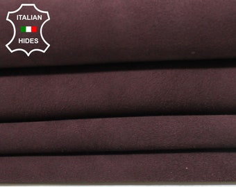 SUEDE PLUM RAISIN dark wine Italian Goatskin Goat Leather skin hide 7 skins hides total 25sqf 0.8mm #A4940