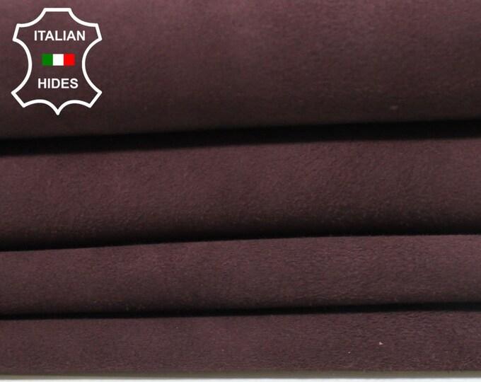 SUEDE PLUM RAISIN dark wine Italian Goatskin Goat Leather skin hide 7 skins hides total 25sqf 0.8mm #A4940