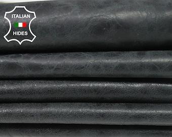 DARK GREY VINTAGE crinkled antiqued Italian Lambskin Lamb Sheep Leather 4 skins hides total 20sqf 0.7mm #A4970