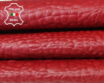 RED Alligator Crocodile 3D embossed textured Italian Lambskin Lamb Sheep leather skin hide skins hides 6-9sqf 0.7mm