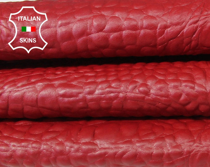 RED Alligator Crocodile 3D embossed textured Italian Lambskin Lamb Sheep leather skin hide skins hides 6-9sqf 0.7mm