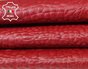 RED CROCODILE ALLIGATOR embossed textured Italian Goatskin leather 12 skins hides total 80-90sqf 0.8mm