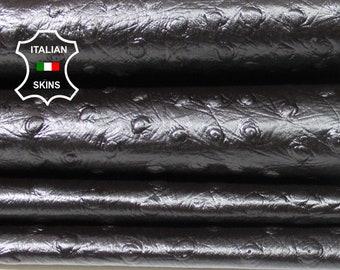 OSTRICH DARK BROWN textured embossed Italian Lambskin Lamb Sheep genuine leather 4 skins hides total 20sqf 0.5mm
