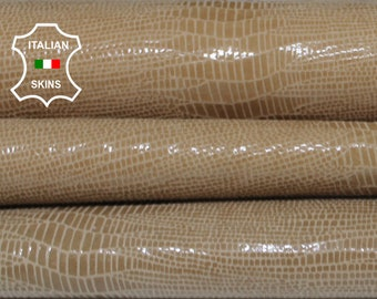 SAND TEJUS REPTILE texture print textured shiny beige Italian Goatskin Goat leather 2 skins hides total 5+sqf 0.7mm #A6921