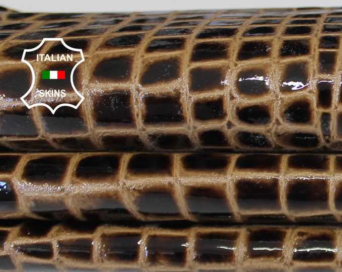 PATENT BROWN CROCODILE texture patent shiny Italian Goatskin Goat leather 2 skins hides total 12sqf 1.0mm #A6490