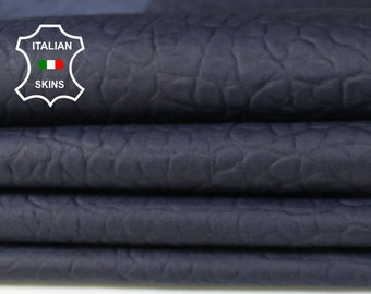 BUBBLY BLUE BLACK grainy antiqued vegetable tan Italian Lambskin Lamb sheep leather 4 skins hides total 25sqf 0.8mm #A7107