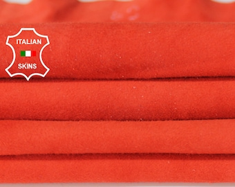 SALMON ORANGE SUEDE soft Italian Lambskin Lamb Sheep leather material for sewing crafts skin hide skins hides 5sqf 0.7mm #A6709