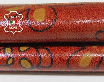 BRIC FLOWERS Print shiny fire orange textured Italian Lambskin Lamb sheep leather skin hide skins hides 2sqf 0.5mm #A5783