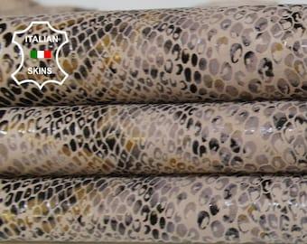 BEIGE PYTHON snake print textured Italian Goatskin Goat leather hide hides skin skins 7-10sqf 0.7mm #A6880