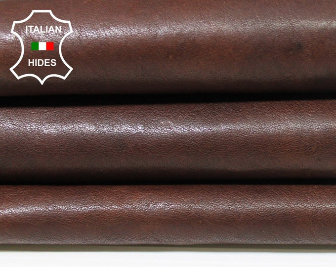 BURNT BROWN ANTIQUED vegetable tan tanned Italian Lambskin Lamb Sheep leather skin hide skins hides 4sqf 1.1mm #A5410