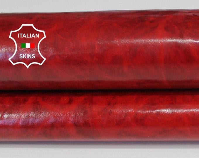 RED ANTIQUED SHINY patent vegetable tan veg tanned Italian Goatskin Goat leather skin hide skins hides 3+sqf 0.6mm #A6488