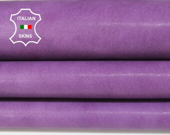 WASHED PURPLE ANTIQUED rustic vegetable tan Italian Lambskin Lamb sheep leather skin hide skins hides 5-8sqf 1.2mm #A6697