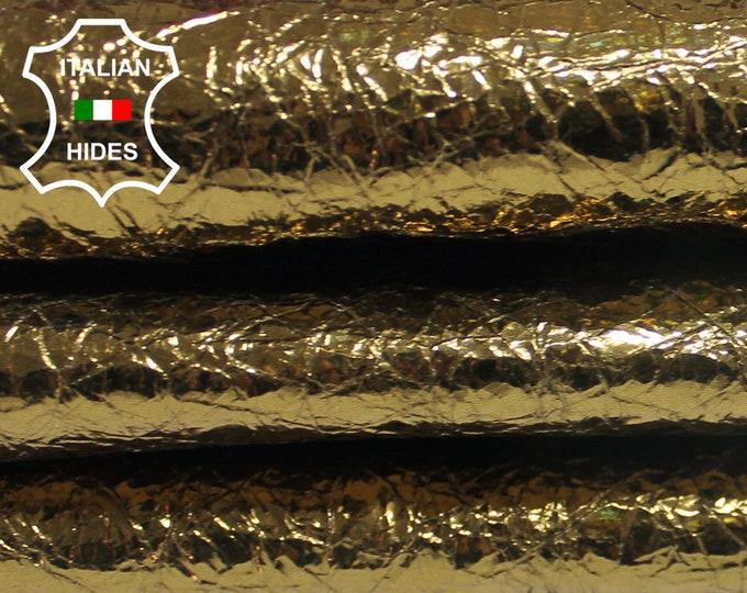 METALLIC BRONZE BRASS Crinkled crinkle Lambskin Lamb Sheep leather skin hide skins hides 6sqf 0.7mm #A3813