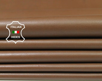 MEDIUM BROWN thin soft Italian Calfskin Calf cow leather material for sewing 3 hides skins total 18sqf 0.4mm #A4774