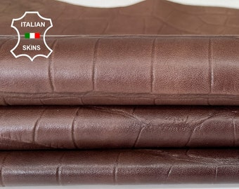 BROWN ANTIQUED CROCODILE embossed textured thin soft rustic look vegetable tan Italian goatskin goat leather skin hide 5sqf 0.4mm #A7975