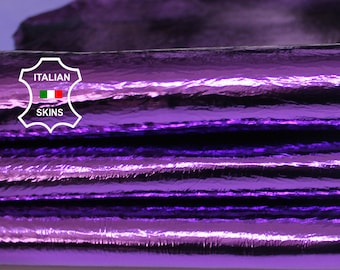 METALLIC PURPLE textured coated crinkled Italian Goatskin Goat leather skin hide skins hides 2+sqf 0.8mm #A6931
