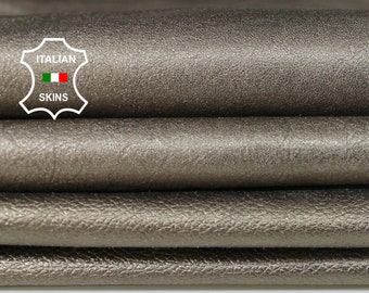 METALLIC PEWTER 2 shades textured Italian Goatskin Goat leather material for sewing crafts 2 skins hides total 10sqf 0.7mm #A6152