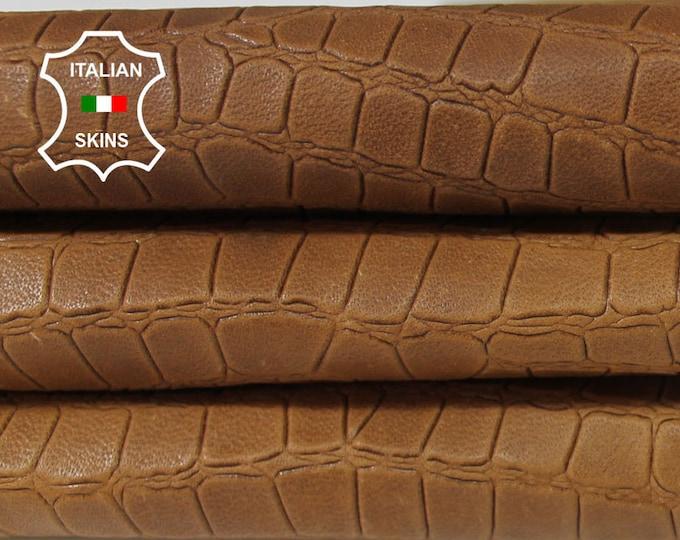 NATURAL TAN BROWN Crocodile embossed textured vegetable tanned Italian Lambskin Lamb Sheep leather 2 skins hides totla 14sqf 0.8mm #A5994