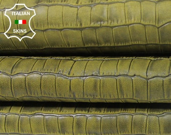 PISTACHIO GREEN ANTIQUED Crocodile Embossed textured vegetable tan Italian Lambskin Lamb sheep leather 2 skins total 7sqf 0.5mm #A5474