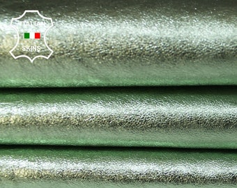 METALLIC LIGHT LIME Green crinkled crinkle Italian Lambskin Lamb Sheep leather skin hide skins hides 6sqf 0.6mm #A5963