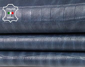 NATURAL BLUE CROCODILE Embossed texture textured vintage look Italian Lambskin Lamb sheep leather 2 skins total 16sqf 0.6mm