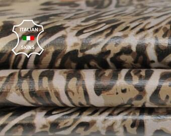 LEOPARD KHAKI & TAUPE print textured on nude Italian Lambskin Lamb Sheep leather skin hide skins hides 6sqf 0.7mm #A6860