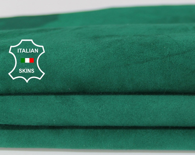 EMERALD GREEN SUEDE soft Italian Calfskin Calf leather material for sewing crafts skin hide skins hides 4sqf 1.0mm #A6715