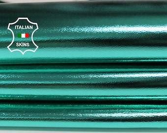 METALLIC AQUAMARINE blue green Italian Lambskin Lamb Sheep leather material for sewing crafts skin skins 7-8sqf 0.7mm #A6785